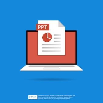 ノートパソコンの画面の概念上のpptファイルアイコン。ドキュメントシンボルのフォーマット拡張子