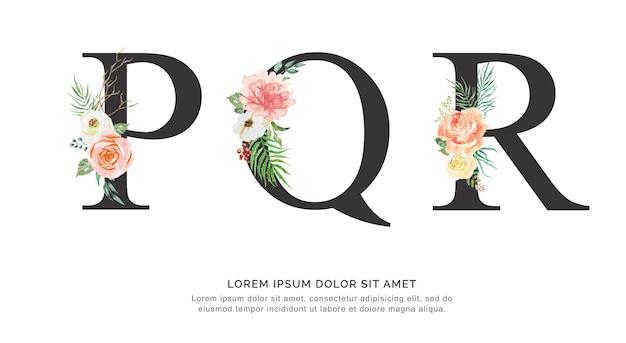 アルファベットpqrの花と葉の水彩。