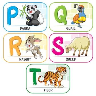 動物のアルファベットpqrst
