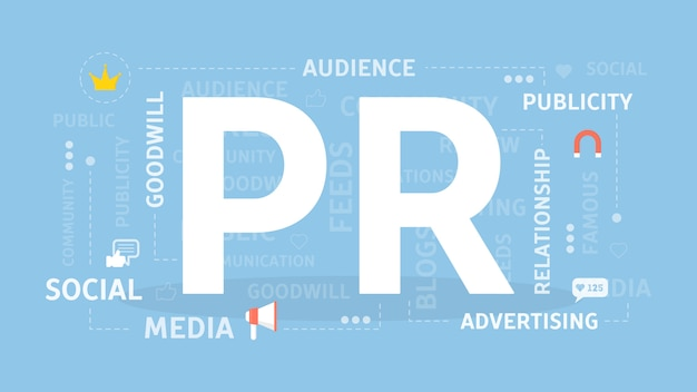 Pr concept illustration. idea of news, media and entertainment.