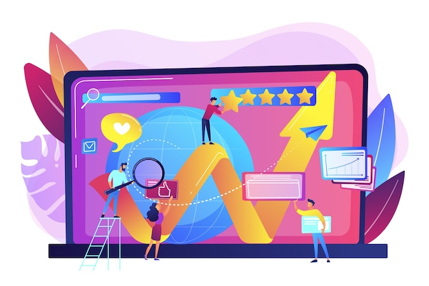 Pr 관리자, 인터넷 마케팅 담당자가 협력합니다. 온라인 평판 관리, 제품 및 서비스 검색 결과, 디지털 공간 표현 개념.