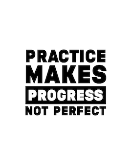 練習は進歩を完璧ではありません。手描きのタイポグラフィポスターデザイン。