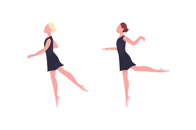 Practicing ballerina flat color faceless character set. dancer rehearse. gymnastics class. classic ballet dance isolated cartoon illustration for web graphic design and animation collection