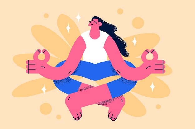 명상과 건강한 생활 방식 개념을 연습합니다. 젊은 웃는 긍정적인 소녀 만화 캐릭터 앉아 명상 연습 요가 포즈 행복 벡터 일러스트 레이 션을 느끼는 훈련 클래스를 하 고