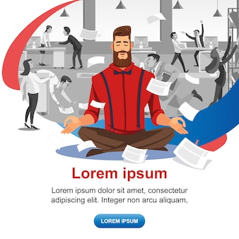 Practicing yoga at workplace vector web banner