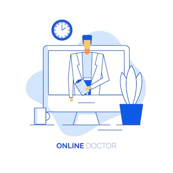Practitioner cardiologist give online consultation