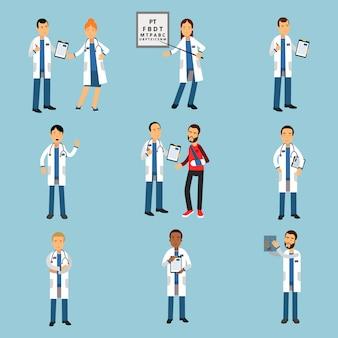 Набор практикующих молодых врачей, медицинский персонал больницы подробные красочные иллюстрации