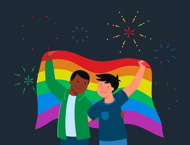 Концепция фестиваля гордости prade lgbt. гомосексуальная пара мужчин держит флаг лгбт.