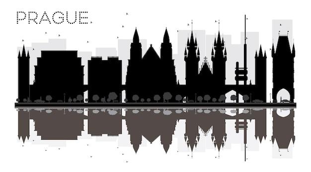 반사와 프라하 시 스카이 라인 흑백 실루엣. 벡터 일러스트 레이 션. 관광 프레젠테이션, 배너, 현수막 또는 웹 사이트를 위한 단순한 평면 개념입니다. 랜드마크가 있는 도시 풍경.