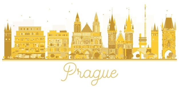 プラハ市のスカイラインの黄金のシルエット。ベクトルイラスト。出張の概念。ランドマークのあるプラハの街並み