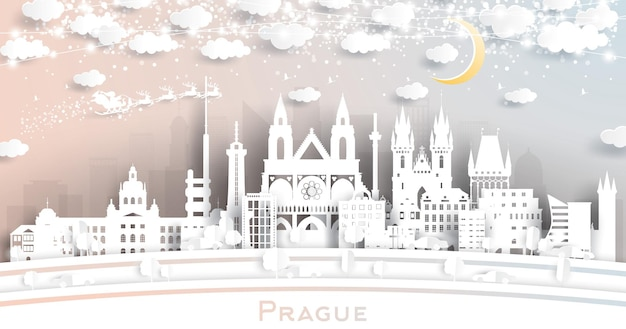 Prague czech republic city skyline in paper cut style with snowflakes, moon and neon garland. vector illustration. christmas and new year concept. santa claus on sleigh.