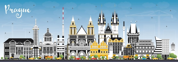 색상 건물과 푸른 하늘이 있는 프라하 체코 공화국 도시의 스카이라인. 삽화