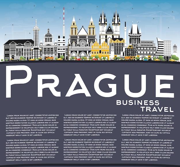 色の建物、青い空、コピースペースのあるプラハチェコ共和国の街のスカイライン。ベクトルイラスト。歴史的な建築とビジネス旅行と観光の概念。ランドマークのあるプラハの街並み。