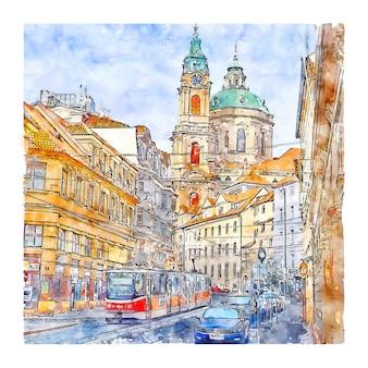 프라하 체코 공화국 수채화 스케치 손으로 그린 그림