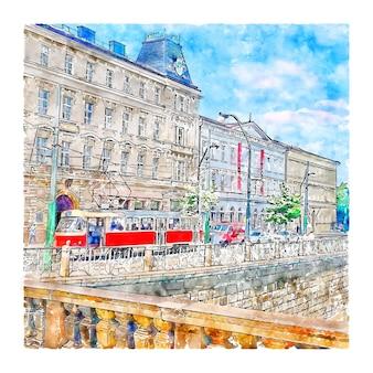 Прага чешская республика акварельный эскиз рисованной иллюстрации