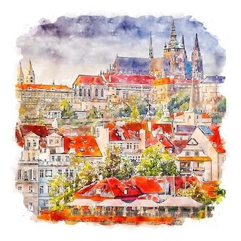 Prague czech republic watercolor sketch hand drawn illustration