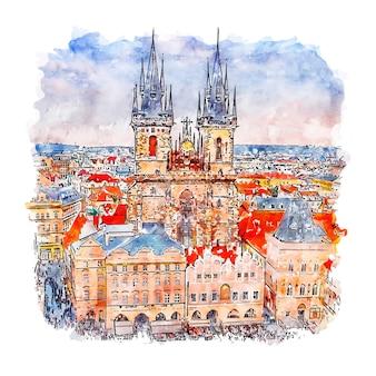 Прага чешская республика акварельный эскиз рисованной