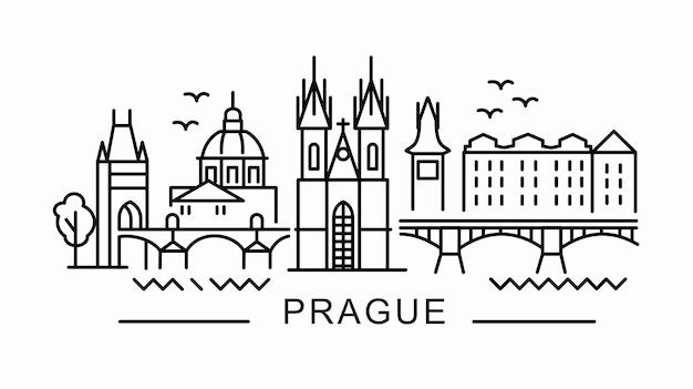 Прага в стиле структуры на белом