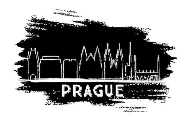 プラハのスカイラインのシルエット。手描きのスケッチ。ベクトルイラスト。歴史的な建築とビジネス旅行と観光の概念。プレゼンテーションバナープラカードとwebサイトの画像。