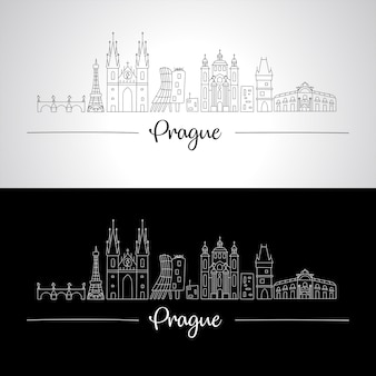 Prague skyline with all famous buildings