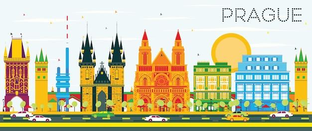 色の建物と青い空とプラハのスカイライン。ベクトルイラスト。歴史的な建築とビジネス旅行と観光の概念。プレゼンテーションバナープラカードとwebの画像。