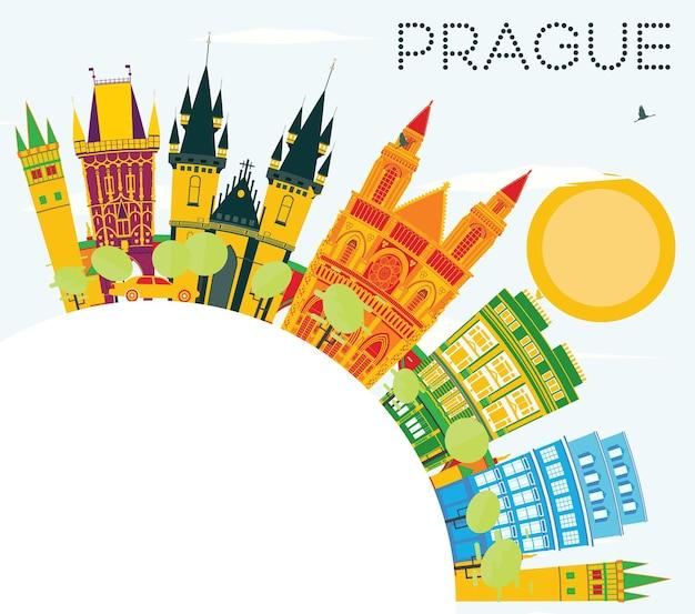 色の建物、青い空、コピースペースのあるプラハのスカイライン。ベクトルイラスト。歴史的な建築とビジネス旅行と観光の概念。プレゼンテーションバナープラカードとwebの画像。