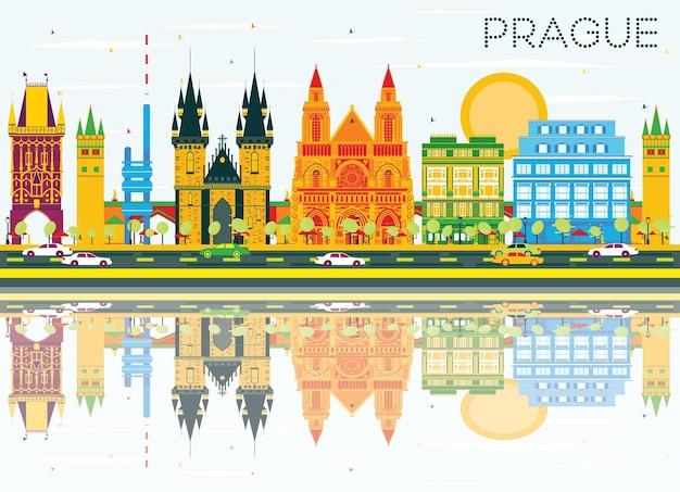 色の建物、青い空と反射のプラハのスカイライン。ベクトルイラスト。歴史的な建築とビジネス旅行と観光の概念。プレゼンテーションバナープラカードとwebの画像。