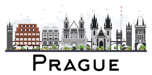 白い背景で隔離の灰色の建物とプラハのスカイライン。ベクトルイラスト。歴史的な建築と出張と観光のイラスト。プレゼンテーションバナーの画像
