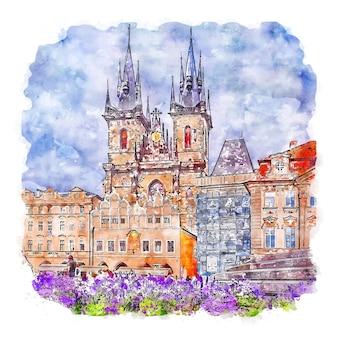 プラハ市プラハ水彩スケッチ手描きイラスト