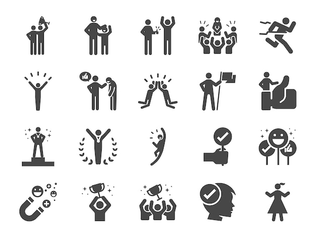 Praised and satisfied line icon set