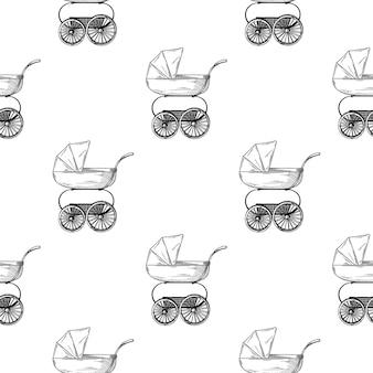 Pram baby stroller seamless pattern