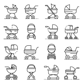 Pram icons set. outline set of pram vector icons