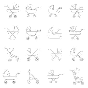 Pram stroller carriage cradle buggy icons set