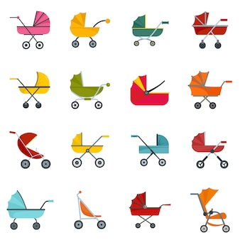 Pram stroller carriage icons set