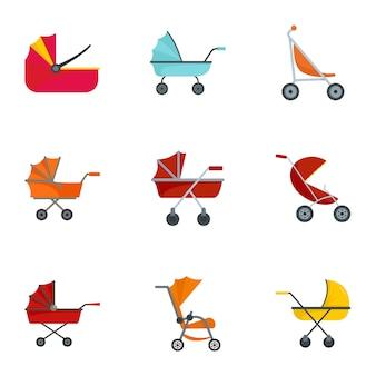 Pram stroller icon set, flat style