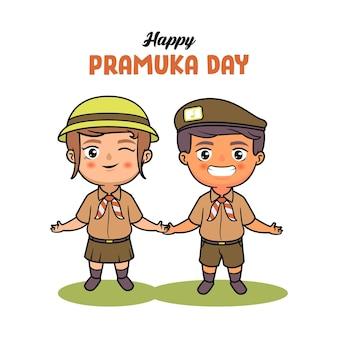 Pramuka индонезийский скаут пара детская иллюстрация