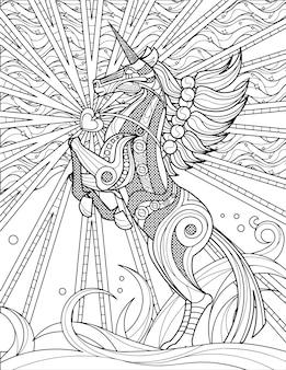 輝くハートのシンボルの神話上の角のある馬のprancesと跳ねるユニコーン無色の線画