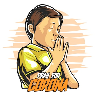 Pray for corona illustration premium
