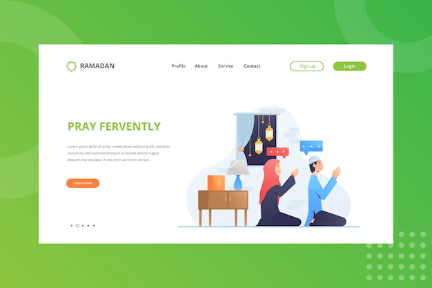 Pray fervently illustration for ramadan concept on landing page
