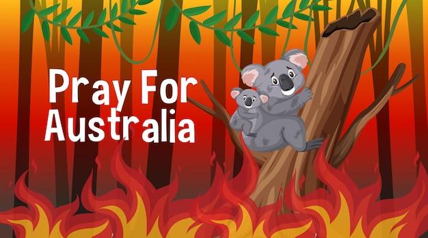 숲에서 산불로 호주 포스터 디자인을 위해기도하십시오