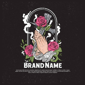 Pray hand illustration holding roses and wooden celtic cross