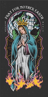 Pray for mother earth colored tattoo style illustration