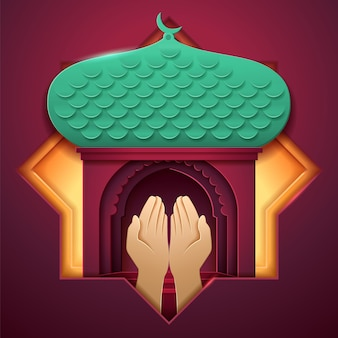 Prayer hands in front of mosque entrance. paper islam church with palms, muslim palace with crescent. religious  background for ramadan or ramazan, salah praying, eid al-adha, ul-fitr holiday