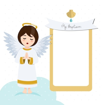 Praying angel. baptism invitation with message. flat vector illustration