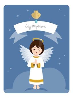 Praying angel. baptism reminder on blue sky and stars. flat vector illustration