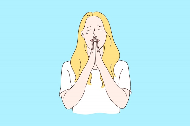 Praying, asking for god help concept