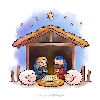 Praying family nativity background