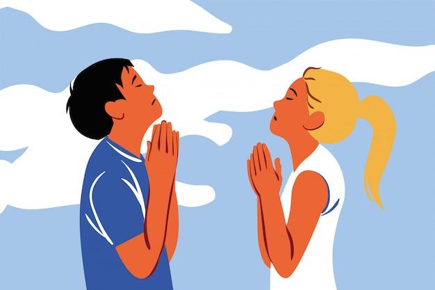 기도, 신, 종교, 커플, 기독교, 요청, 믿음 개념