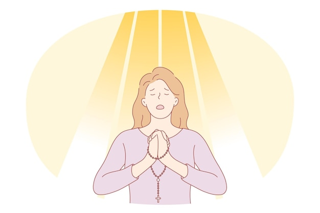 祈り、悲しみ、うつ病の概念。