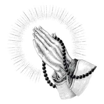 Praying hand drawing vintage isolated on white background